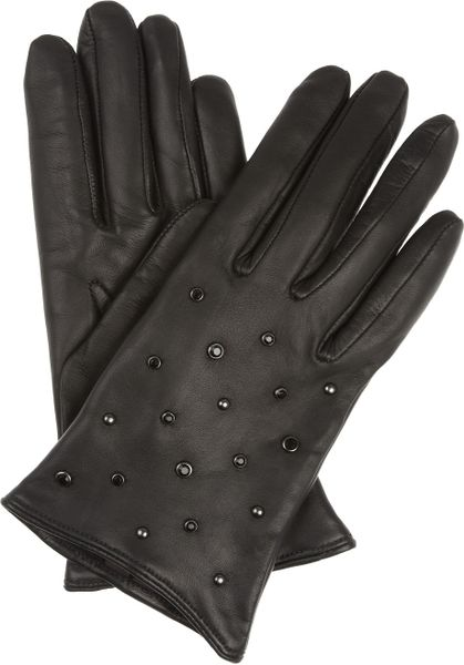 Mulberry Gems Studded Leather Gloves in Black - Lyst