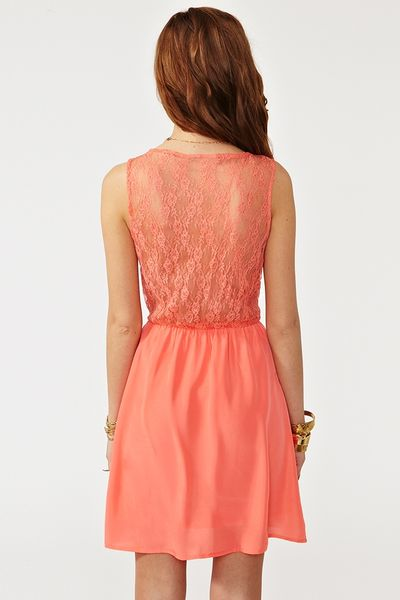 Nasty Gal Ava Lace Dress Coral In Orange Coral Lyst