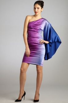 Nicole Miller Magenta and Blue Silk Ombre One Shoulder Drape Dress - Lyst