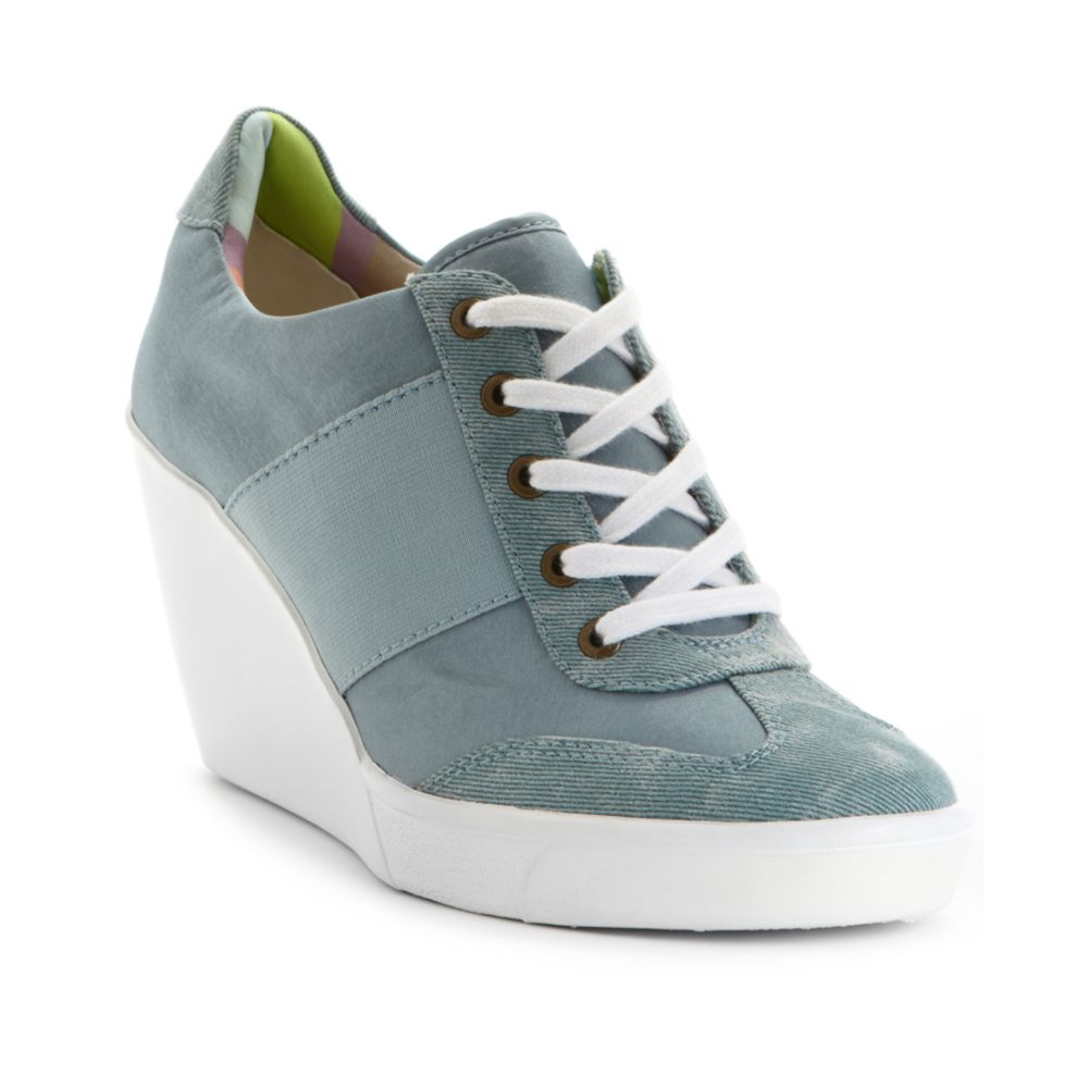 Nine West Preston Wedge Sneakers In Blue Lt Blue Lyst
