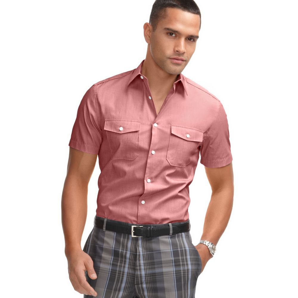Perry Ellis Short Sleeve Chambray Shirt In Pink For Men