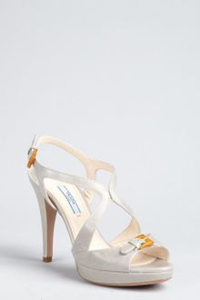 Prada Cloud Grey Leather Strappy and Buckled Platform Sandals - Lyst