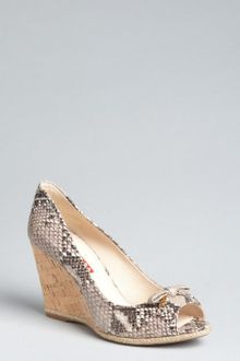 Prada Prada Sport Stone Snakeskin and Cork Peep Toe Wedges - Lyst
