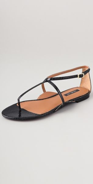 Rachel Zoe Gwen Flat Sandals in Black - Lyst