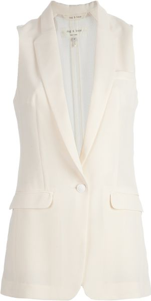Rag & Bone Mesh Back Gilet in Beige (nude)