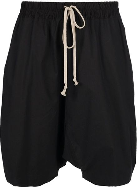 Rick Owens Dropped Crotch Shorts in Black - Lyst