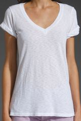 Splendid Slub V Neck Tee in White - Lyst