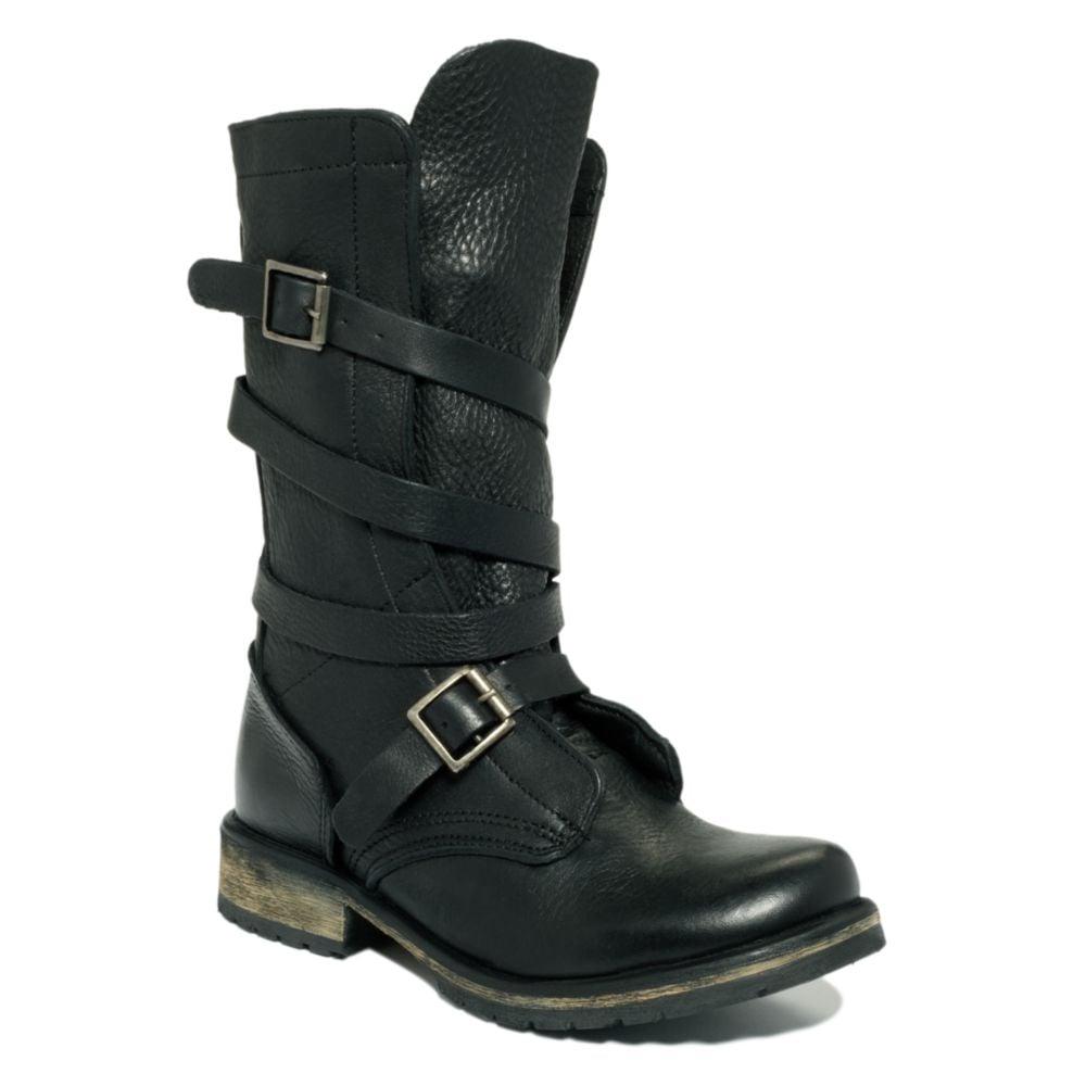 steve madden banddit utility boots in black lyst. Black Bedroom Furniture Sets. Home Design Ideas