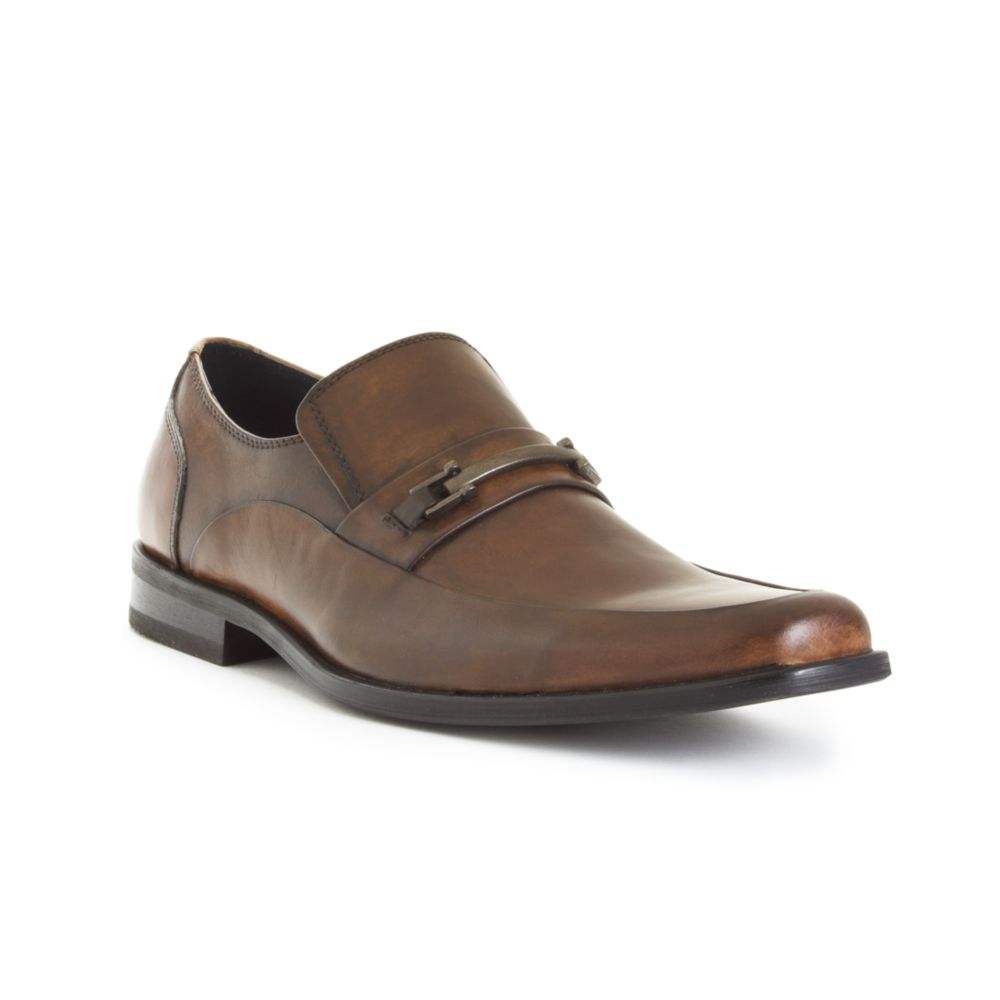 steve madden roddey slip on dress shoes in brown for
