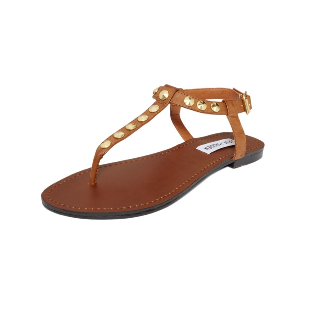 Steve Madden Virrtue Flat Sandals In Brown Cognac Lyst
