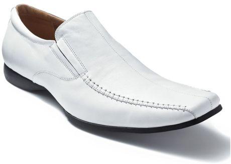 steve madden carano slipon dress shoes in white for lyst