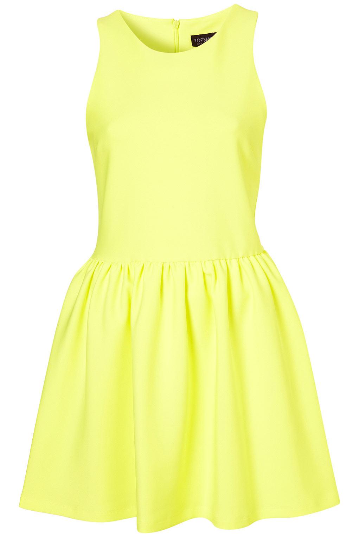 Lyst Topshop Scuba Skater Dress In Yellow