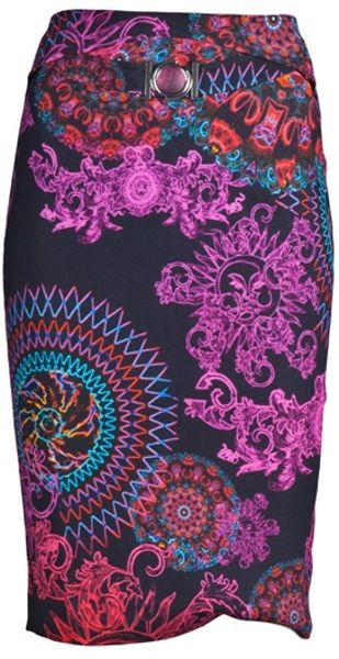 Versace Print Skirt in Multicolor (black) - Lyst