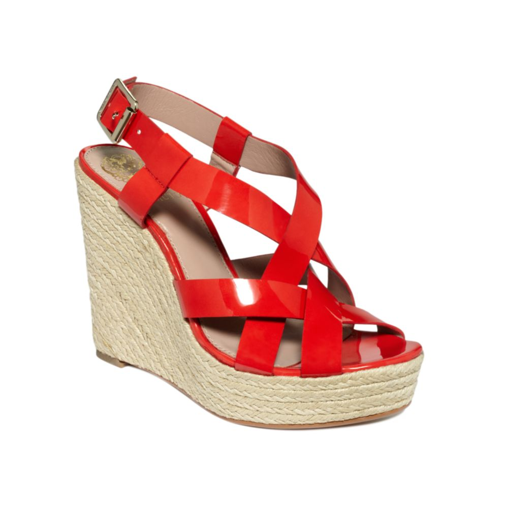 Vince Camuto Hattie Wedge Sandals In Red Lyst