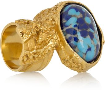 Saint Laurent Arty Gold-Plated Glass Ring - Lyst