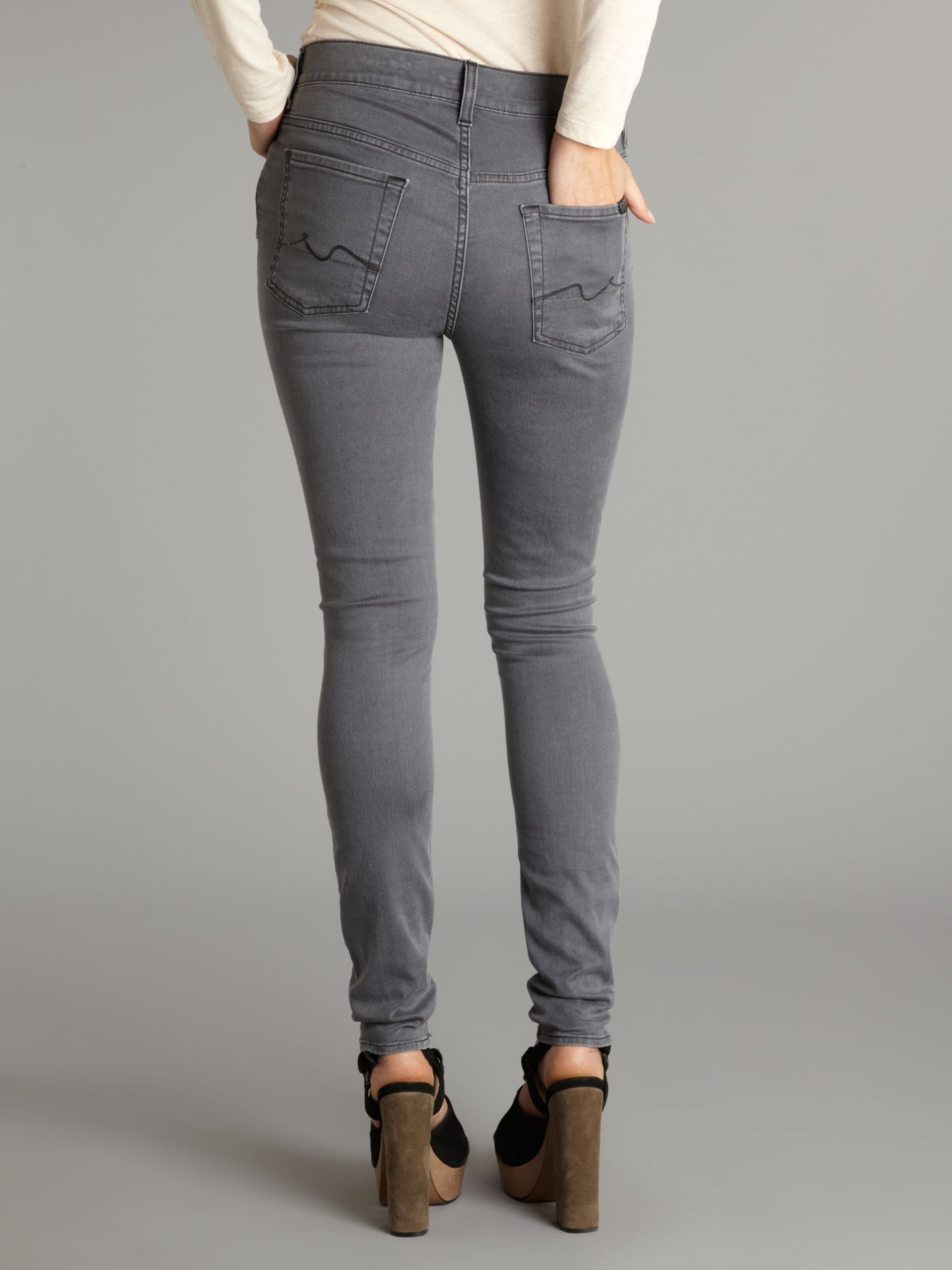 Gray High Waisted Jeans - Jeans Am