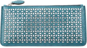 Alaïa Varan Skin Micro Perforated Clutch with Contrasted Calfskin Lining - Lyst