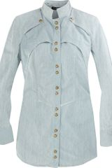 Balmain Shirt Dress in Blue (denim) - Lyst