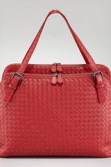 Bottega Veneta Woven Double compartment Shoulder Bag - Lyst