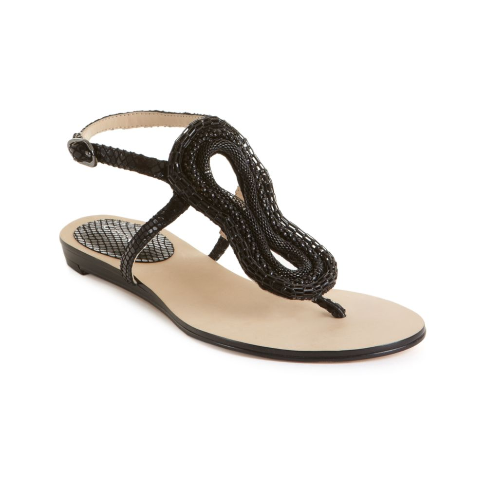 Calvin klein Steffie Flat Dress Sandals in Black | Lyst