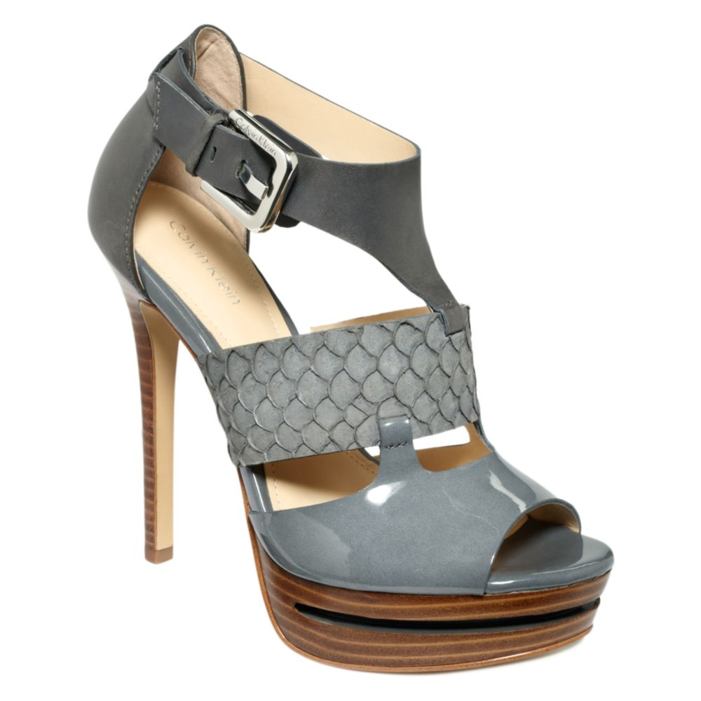 Calvin klein roxana high heel sandals in gray lyst for Fishpond products