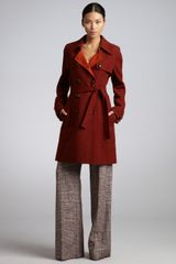 Celine Rust and Burnt Orange Woolangora Blend Double Breasted Coat - Lyst