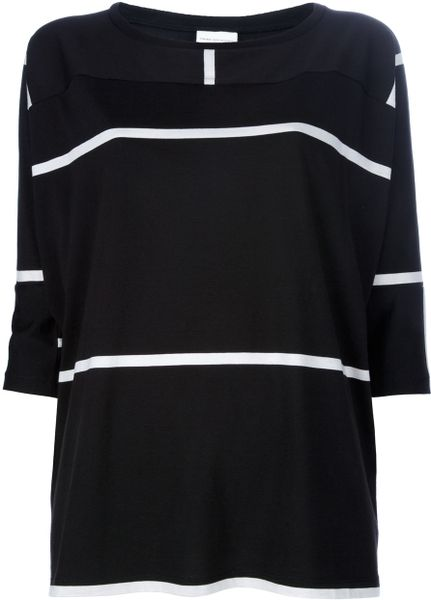 Dries Van Noten Striped Top in Black - Lyst