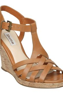 Dune Geo D Cross T Bar Cork Sandals - Lyst
