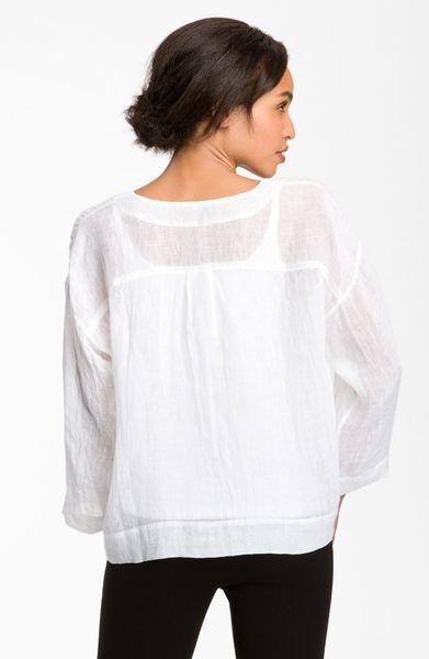 White Linen Blouses 40