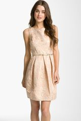 Eliza J Belted Cotton Jacquard Tulip Dress - Lyst