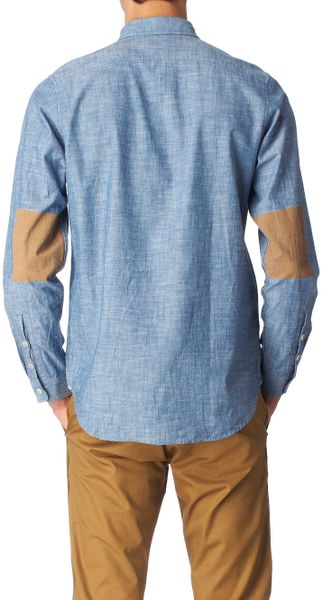 Folk Printed Elbow Patch Shirt In Blue For Men Lyst