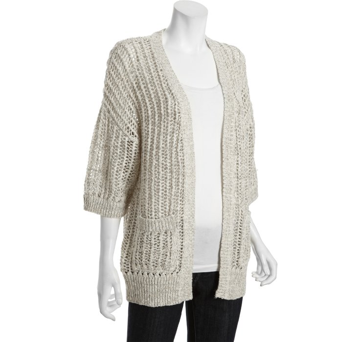 Free people Ivory Cotton Blend Gone Fishing Open Knit Cardigan ...
