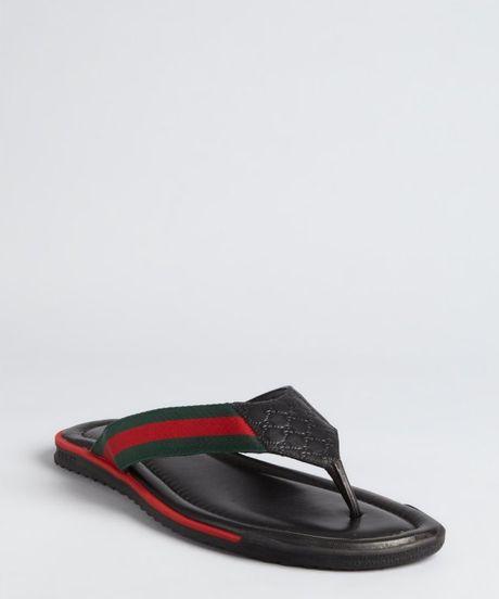 Gucci Black Leather Web Stripe Flip Flops In Black For Men