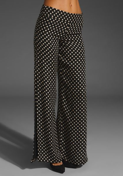 Haute Hippie Wide Leg Pants with Side Slits in Blacknude in Black (black & nude) - Lyst