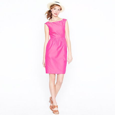 J.crew Lucille Dress in Cottonsilk Faille in Pink (hot pink) - Lyst