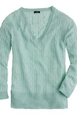 J.Crew Linen Vneck Cable Knit Sweater - Lyst
