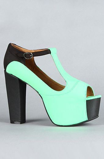 Jeffrey Campbell The Foxy Colorblock Shoe in Green and Black Neoprene - Lyst