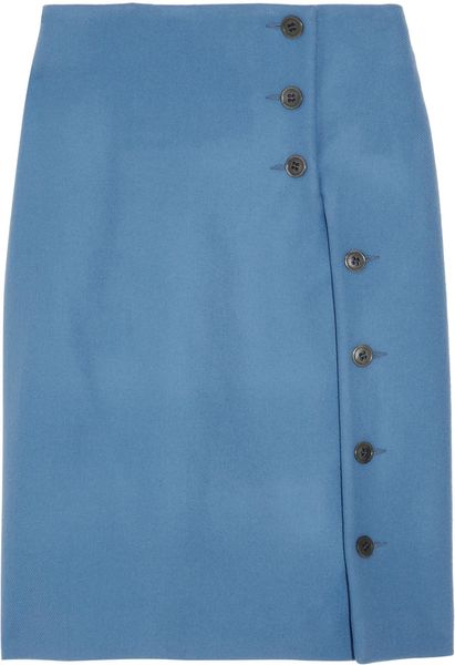 Jil Sander Wool Skirt in Blue - Lyst