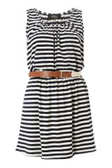 Madam Rage Madam Rage Jersey Stripe Belted Dress - Lyst