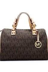 Michael by Michael Kors Grayson Large Logo Satchel Brown - Lyst