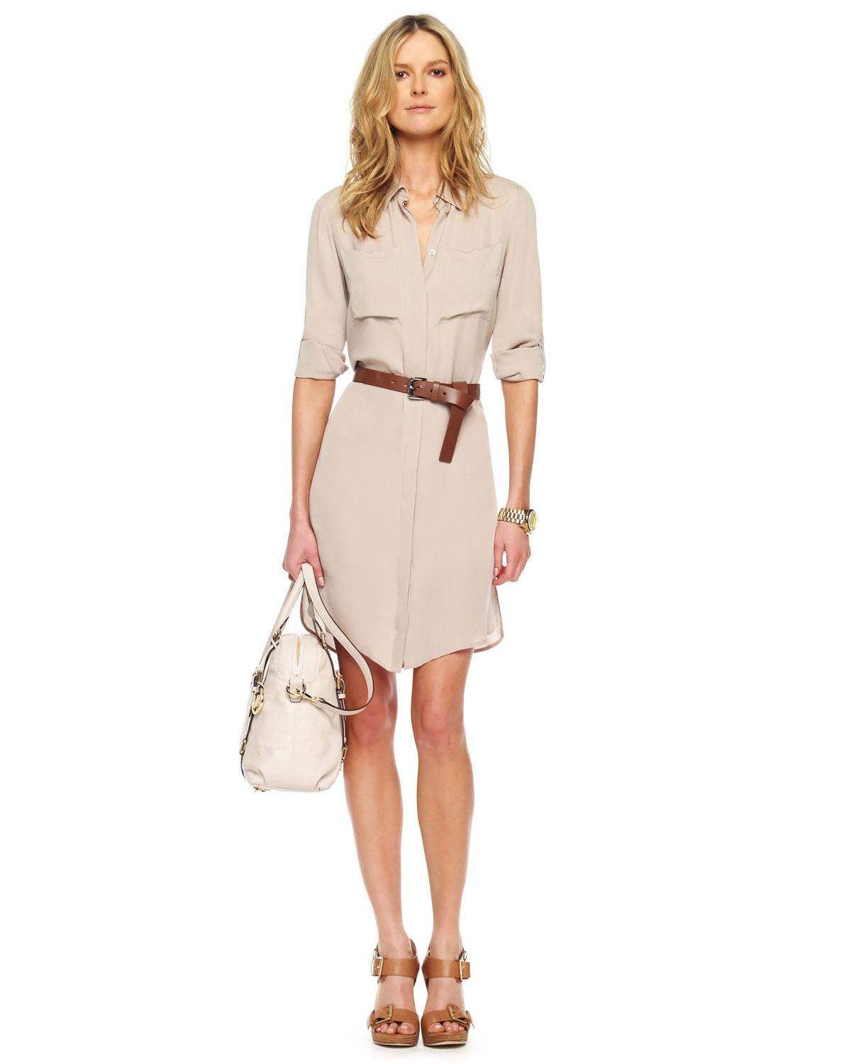 michael kors belted shirt dress in lyst