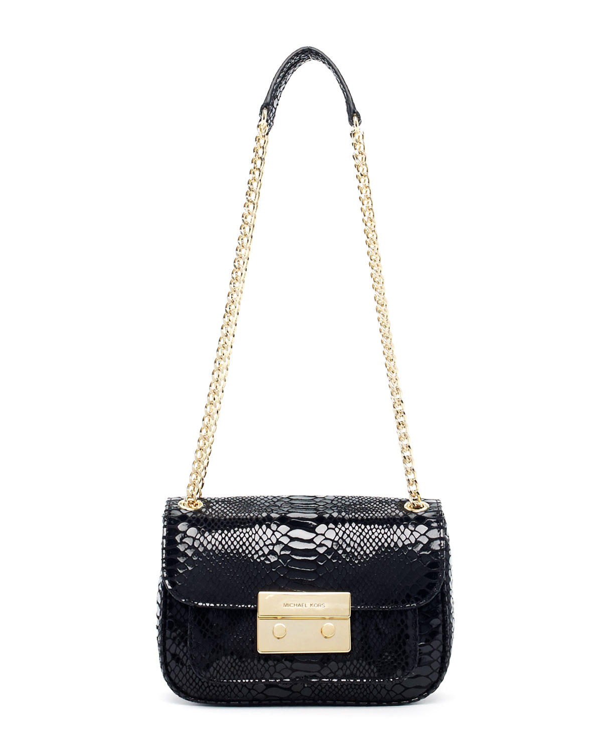 d6a0c14be51b ... discount code for lyst michael kors sloan small pythonembossed shoulder  bag in black 94e36 c130b
