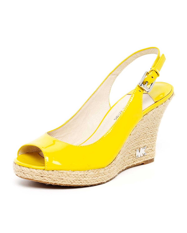 Michael Kors Kami Patent Slingback Espadrille Sandal In