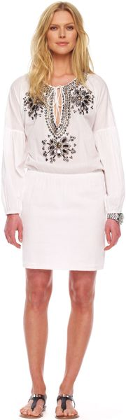 Michael Kors Embellished Peasant Dress in White - Lyst