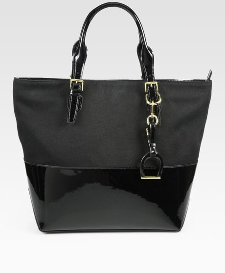 Ralph Lauren Collection Patent Leather Canvas Tote Bag in Black