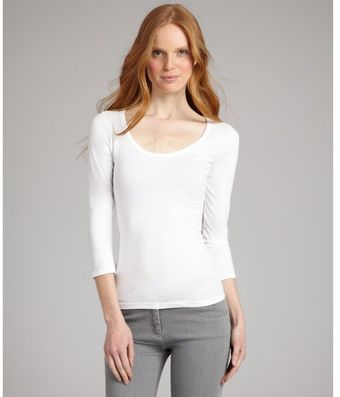 Rebecca Beeson White Cotton Blend Scoop Neck Tshirt - Lyst