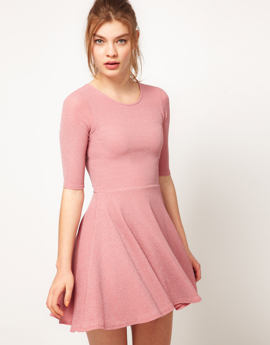 Lyst - River island River Island Glitter Skater Dress in Pink