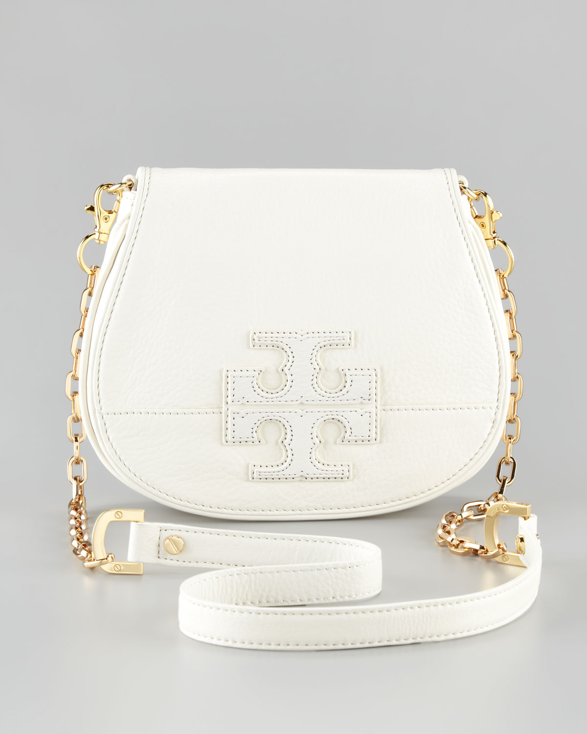 5db4d7fe0 Tory Burch Stacked Logo Crossbody Bag in White - Lyst