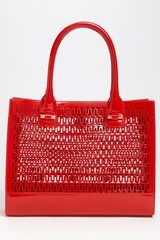 Tory Burch Mini Georgiana Perforated Tote in Red (french red) - Lyst