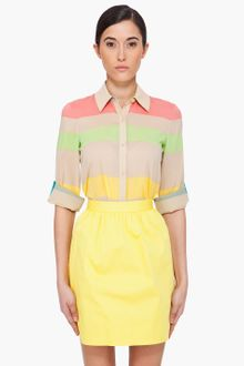 Alice + Olivia Multicolor Striped Silk Blouse - Lyst